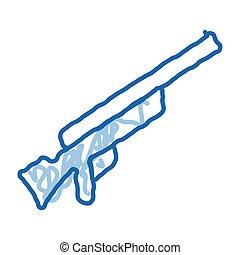 Gun doodle icon hand drawn illustration
