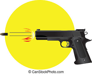 gun firing bullet vector Illustration