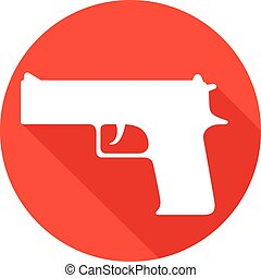 gun flat icon (pistol vector, handgun)