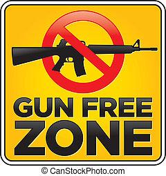 Gun Free Zone Assault Rifle Sign - Vector Gun Free Zone...