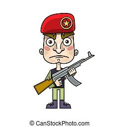 gun., guerrier, sien, beret., soldat, fusil, militaire, shoulder., homme