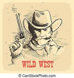 gun., gunslinger, antigas, boiadeiro, cartaz, oeste, selvagem, retrato, chapéu, homem