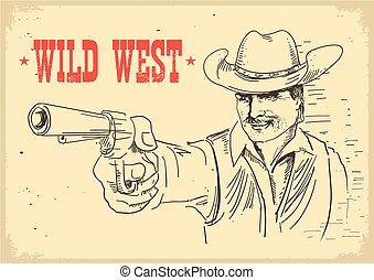gun., gunslinger, antigas, boiadeiro, oeste, segurando, cartaz, selvagem, retrato, chapéu, homem