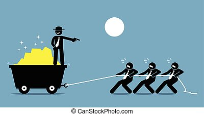 gun., hen, hard, werknemers, werken, het dreigen, baas, het dwingen, werkmannen
