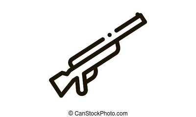 Gun Icon Animation. black Gun animated icon on white background