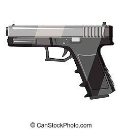 Gun icon, gray monochrome style