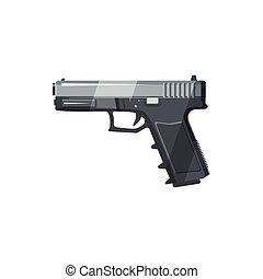 Gun icon in cartoon style