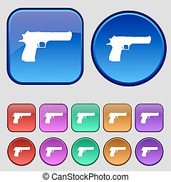 gun icon sign. A set of twelve vintage buttons for your design. Vector