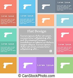 gun icon sign. Set of multicolored buttons with space for text. Vector