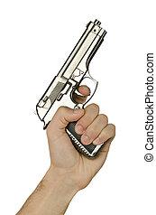 Gun in the hand on white