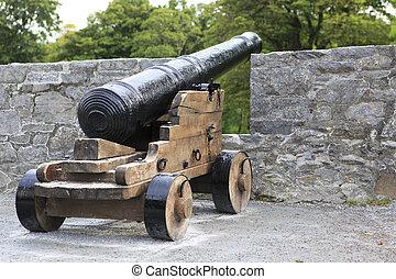 Gun in the wall of Ross Castle.