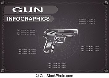 Gun  infographics, Vector illustration.
