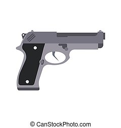 Gun isolated vector silhouette illustration pistol white weapon icon. Man hand rifle background design black
