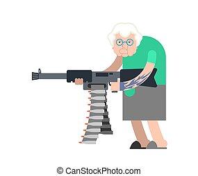 gun., macchina, vecchio, arrabbiato, weapon., male, crimine, nonna, gangster, vettore, illustrazione, nonna, signora