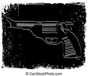 Gun on black grunge background. Vector