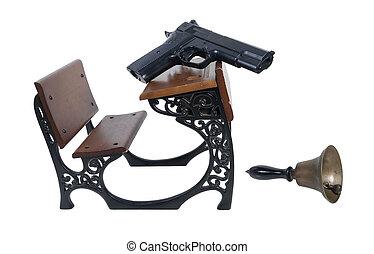 Gun on Student Desk