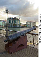 Gun on the embankment , Port-Louis- capital of Mauritius