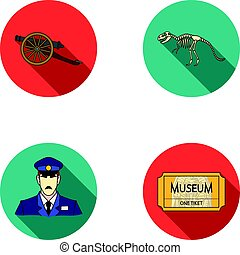 Gun on wheels, dinosaur skeleton, security guard in uniform, admission ticket. Museum set collection icons in flat style vector symbol stock illustration web.