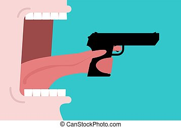 gun., open., talk., bouche, sérieux, langue, armé