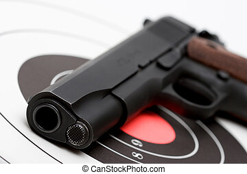 gun over bullseye - gun over target, macro with limited...