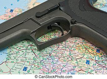 gun over the map of Europe closeup