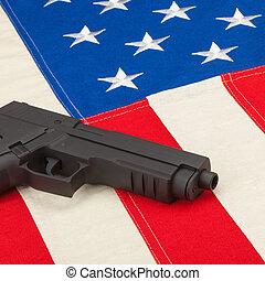 Gun over USA flag - 1 to 1 ratio