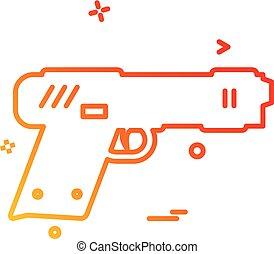 gun pistol police weapon icon vector design