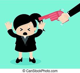 Gun point to businessman head