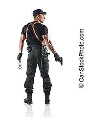 gun., police, menottes, isolé, white., officier