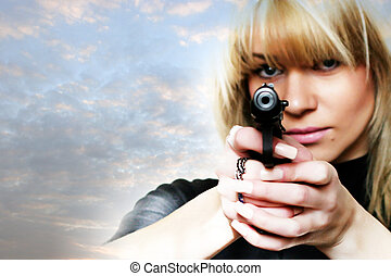 gun - pretty woman with pistol in to hand
