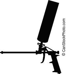 gun., reparera, installation, fönstren, verktyg, skum