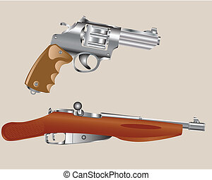 Gun revolver and edge of the rifle