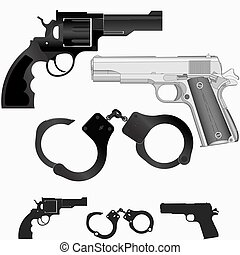 Gun, revolver and handcuffs