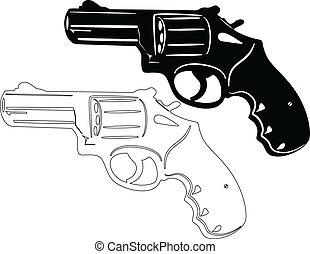 Gun Revolver - illustration of revolver silhouette
