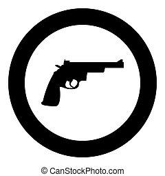 Gun revolver icon black color in circle