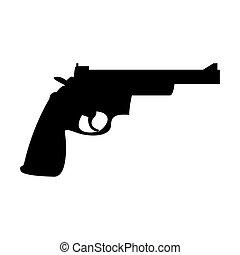Gun revolver the black color icon .