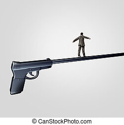 Gun Risk - Gun risk concept and firearm social issue symbol...