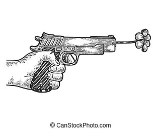 Gun shoots a flower sketch engraving vector illustration. Scratch board style imitation. Black and white hand drawn image.
