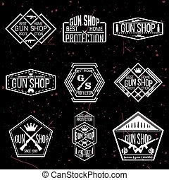 Gun shop logotypes and badges vector set - Gun shop...
