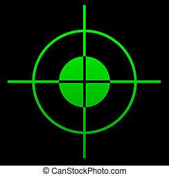 Telescopic gun sight illuminated at night.