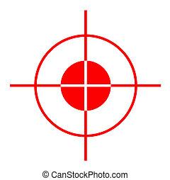 Gun sight - Red gun sight cross hairs, isolated on white...