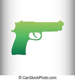 Gun sign. Green gradient icon