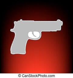 Gun sign illustration. Postage stamp or old photo style on red-black gradient background.