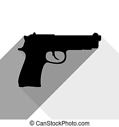 Gun sign illustration. Vector. Black icon with two flat gray shadows on white background.