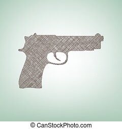 Gun sign illustration. Vector. Brown flax icon on green background with light spot at the center.