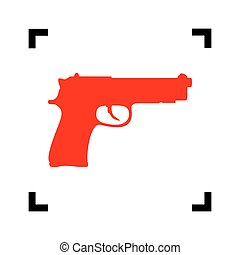 Gun sign illustration. Vector. Red icon inside black focus corners on white background. Isolated.