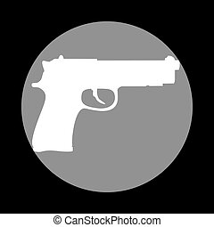 Gun sign illustration. White icon in gray circle at black backgr