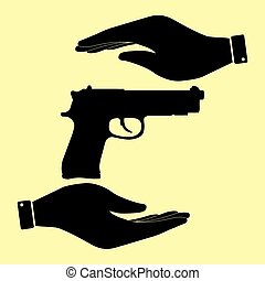 Save or protect symbol by hands. - Gun sign. Save or protect...