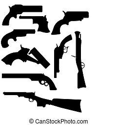 Gun Silhouettes - A vector illustration of some gun...
