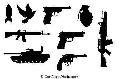 Gun silhouettes - Silhouettes of assorted guns and weapons